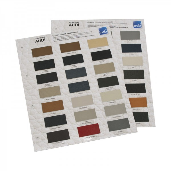 Farbkatalog für BCB Lederfarben Karten für AUDI Leder